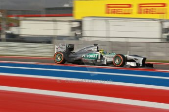 World © Octane Photographic Ltd. F1 USA GP - Austin, Texas, Circuit of the Americas (COTA), Friday 15th November 2013 - Practice 1. Mercedes AMG Petronas F1 W04 - Nico Rosberg. Digital Ref : 0853lw1d1286