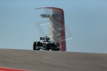 World © Octane Photographic Ltd. F1 USA GP, Austin, Texas, Circuit of the Americas (COTA), Friday 15th November 2013 - Practice 2. Mercedes AMG Petronas F1 W04 – Lewis Hamilton. Digital Ref : 0854lw1d3819