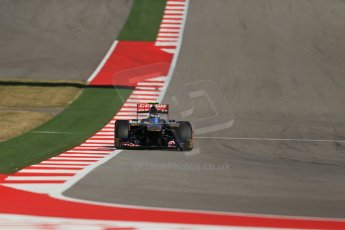 World © Octane Photographic Ltd. F1 USA GP, Austin, Texas, Circuit of the Americas (COTA), Friday 15th November 2013 - Practice 2. Scuderia Toro Rosso STR 8 - Daniel Ricciardo. Digital Ref : 0854lw1d4225