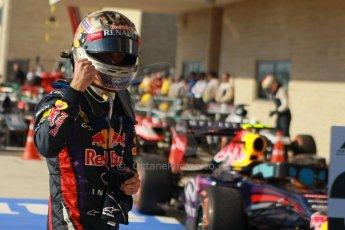 World © Octane Photographic Ltd. F1 USA GP, Austin, Texas, Circuit of the Americas (COTA), Sunday 17th November 2013 – Post-Race Parc Ferme. Infiniti Red Bull Racing - Sebastian Vettel. Digital Ref : 0862lw1d2989