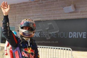 World © Octane Photographic Ltd. F1 USA GP, Austin, Texas, Circuit of the Americas (COTA), Sunday 17th November 2013 – Post-Race Parc Ferme. Infiniti Red Bull Racing - Sebastian Vettel. Digital Ref : 0862lw1d2997
