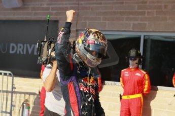 World © Octane Photographic Ltd. F1 USA GP, Austin, Texas, Circuit of the Americas (COTA), Sunday 17th November 2013 – Post-Race Parc Ferme. Infiniti Red Bull Racing - Sebastian Vettel. Digital Ref : 0862lw1d3009