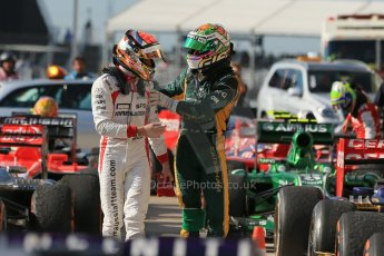 World © Octane Photographic Ltd. F1 USA GP, Austin, Texas, Circuit of the Americas (COTA), Sunday 17th November 2013 - Post-Race Parc Ferme. Caterham F1 Team - Giedo van der Garde and Marussia F1 Team - Jules Bianchi. Digital Ref : 0862lw1d6206