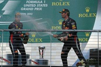 World © Octane Photographic Ltd. F1 USA GP, Austin, Texas, Circuit of the Americas (COTA), Sunday 17th November 2013 - Podium. Infiniti Red Bull Racing - Sebastian Vettel (1st), and  Mark Webber (3rd). Digital Ref : 0862lw1d6395