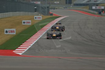World © Octane Photographic Ltd. F1 USA GP, Austin, Texas, Circuit of the Americas (COTA), Saturday 16th November 2013 - Practice 3. Infiniti Red Bull Racing RB9 - Sebastian Vettel and Mark Webber. Digital Ref : 0857lw1d4755