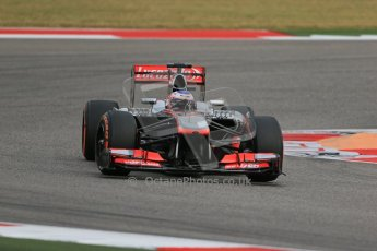 World © Octane Photographic Ltd. F1 USA GP, Austin, Texas, Circuit of the Americas (COTA), Saturday 16th November 2013 - Practice 3. Vodafone McLaren Mercedes MP4/28 - Jenson Button. Digital Ref : 0857lw1d5098