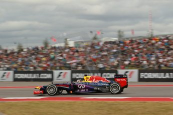 World © Octane Photographic Ltd. F1 USA GP, Austin, Texas, Circuit of the Americas (COTA), Saturday 16th November 2013 - Qualifying. Infiniti Red Bull Racing RB9 - Sebastian Vettel. Digital Ref : 0858lw1d1972