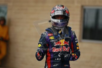 World © Octane Photographic Ltd. F1 USA GP, Austin, Texas, Circuit of the Americas (COTA), Saturday 16th November 2013 - Qualifying Parc Ferme. Infiniti Red Bull Racing RB9 - Sebastian Vettel. Digital Ref : 0858lw1d2186