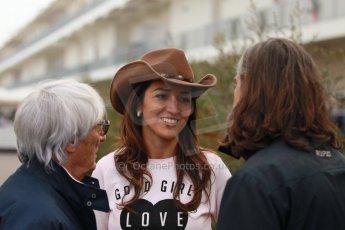 World © Octane Photographic Ltd. USA F1 Grand Prix, Austin, Texas, Circuit of the Americas (COTA). Paddock, Thursday 14th November 2013. Bernie Ecclestone and wife, Fabiana Flosi. Digital Ref : 0852lw1d1136
