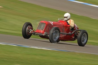World © Octane Photographic Ltd. Donington Historic Festival, Friday 3rd May 2013. HGPCA Nuvolari Trophy pre-1940 GP cars with Hall and Hall. Maserati 8CM - Sean Danaher. Digital Ref : 0645cb7d0018