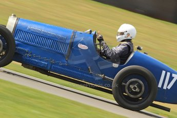 World © Octane Photographic Ltd. Donington Historic Festival, Friday 3rd May 2013. HGPCA Nuvolari Trophy pre-1940 GP cars with Hall and Hall. Bugatti T37A - Mark Valvekens. Digital Ref : 0645cb7d0085