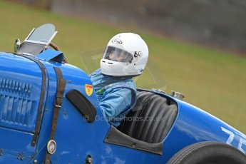 World © Octane Photographic Ltd. Donington Historic Festival, Friday 3rd May 2013. HGPCA Nuvolari Trophy pre-1940 GP cars with Hall and Hall. 1929 Bugatti T35B - Julia de Baldanza. Digital Ref : 0645cb7d0163