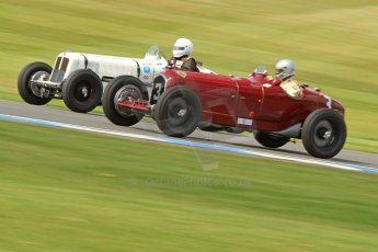 World © Octane Photographic Ltd. Donington Historic Festival, Friday 3rd May 2013. HGPCA Nuvolari Trophy pre-1940 GP cars with Hall and Hall. Alfa Romeo P3 Tipo B (Scuderia Ferrari) - Stephan Rettenmaier and ERA R9B Otto Rainer. Digital Ref : 0645cb7d8205