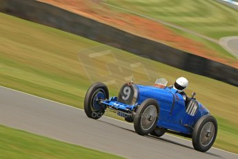 World © Octane Photographic Ltd. Donington Historic Festival, Friday 3rd May 2013. HGPCA Nuvolari Trophy pre-1940 GP cars with Hall and Hall. 1927 Bugatti T35B - Charles Knill-Jones. Digital Ref : 0645cb7d8303