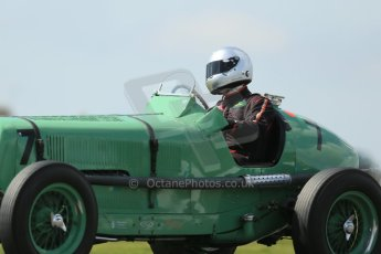 World © Octane Photographic Ltd. Donington Historic Festival, Friday 3rd May 2013. HGPCA Nuvolari Trophy pre-1940 GP cars with Hall and Hall. ERA R3A - Mark Gillies. Digital Ref : 0645lw1d7363