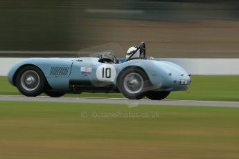 World © Octane Photographic Ltd. Donington Park General un-silenced test 25th April 2013. Reverend Simon Butler/Jonathan Crouch - Jaguar C-Type. Digital Ref : 0641cb1d5131