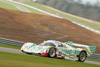 "World © Octane Photographic Ltd/Chris Enion. Donington Park General un-silenced test 25th April 2013. Henrik Linberg - Porsche 962C Dauer Racing ""Tic Tac"" - Group C (Gp.C) Racing. Digital Ref : 0641ce1d2589"