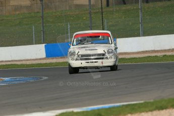 World © Octane Photographic Ltd. Donington Park General un-silenced testing, April 30th 2013. Alan Letts/Geoffrey Letts - Ford Lotus Cortina. Digital Ref : 0643lw1d6539
