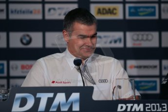 World © Octane Photographic Ltd. German Touring Cars (DTM) Brands Hatch Saturday 18th May 2013. Qualifying press conference. Head of Audi DTM Motorsport, Dieter Gass. Digital Ref: 0684cb1d5727