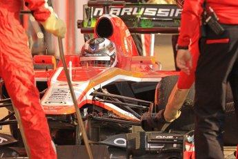 World © Octane Photographic Ltd. Formula 1 Winter testing, Barcelona – Circuit de Catalunya, 19th February 2013. Marussia MR02, Max Chilton in the pits. Digital Ref: 0576cb7d8107