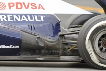 World © Octane Photographic Ltd. Formula 1 Winter testing, Barcelona – Circuit de Catalunya, 19th February 2013. Williams FW35 including their controversial exhaust flow conditioner, Pastor Maldonado. Digital Ref: 0576cb7d8442