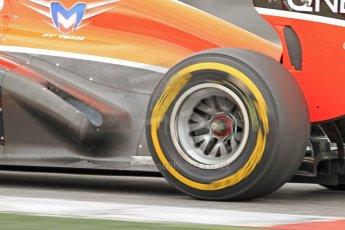 World © Octane Photographic Ltd. Formula 1 Winter testing, Barcelona – Circuit de Catalunya, 19th February 2013. Marussia MR02 exhaust detail, Max Chilton. Digital Ref: 0576cb7d8447