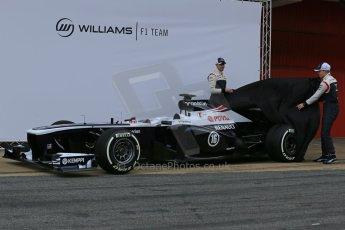 World © Octane Photographic Ltd. Formula 1 Winter testing, Barcelona – Circuit de Catalunya, 19th February 2013 and Valterri Bottas. Williams FW35 launch, Pastor Maldonado. Digital Ref: 0576lw1d0959