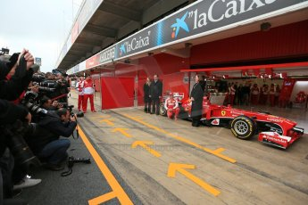 World © Octane Photographic Ltd. Formula 1 Winter testing, Barcelona – Circuit de Catalunya, 19th February 2013. Ferrari F138 – Fernando Alonso unveils the team's new UPS sponsorship in front of the world F1 media. Digital Ref: 0576lw1d1126