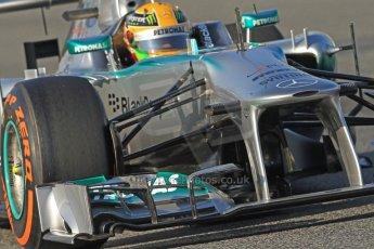World © Octane Photographic Ltd. Formula 1 Winter testing, Barcelona – Circuit de Catalunya, 20th February 2013. Mercedes AMG Petronas F1 W04, Lewis Hamilton. Digital Ref: