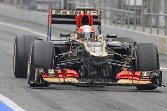 World © Octane Photographic Ltd. Formula 1 Winter testing, Barcelona – Circuit de Catalunya, 21st February 2013. Lotus E31, Romain Grosjean. Digital Ref: 0578cb7d8903