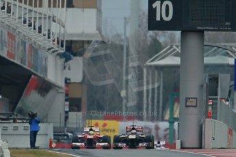 World © Octane Photographic Ltd. Formula 1 Winter testing, Barcelona – Circuit de Catalunya, 22nd February 2013. Ferrari F138 – Felipe Massa and Toro Rosso STR8, Jean-Eric Vergne. Digital Ref: 0579cb1d4537