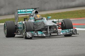World © Octane Photographic Ltd. Formula 1 Winter testing, Barcelona – Circuit de Catalunya, 22nd February 2013. Mercedes AMG Petronas F1 W04, Lewis Hamilton. Digital Ref: 0579cb7d9516
