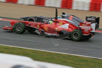 World © Octane Photographic Ltd. Formula 1 Winter testing, Barcelona – Circuit de Catalunya, 22nd February 2013. Ferrari F138 – Felipe Massa and Sauber C32, Esteban Gutierrez. Digital Ref: 0579lw1d4637