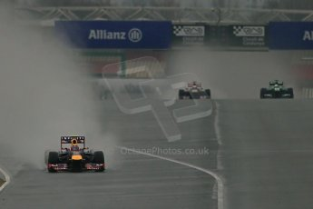 World © Octane Photographic Ltd. Formula 1 Winter testing, Barcelona – Circuit de Catalunya, 22nd February 2013. Infiniti Red Bull Racing RB9 - Mark Webber, Toro Rosso STR8 - Jean-Eric Vergne and Caterham CT03-Giedo van de Garde. Digital Ref: 0579lw1d5181