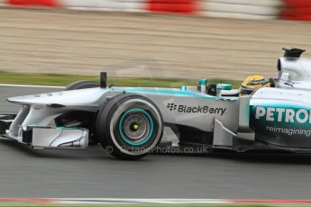World © Octane Photographic Ltd. Formula 1 Winter testing, Barcelona – Circuit de Catalunya, 22nd February 2013. Mercedes AMG Petronas F1 W04, Lewis Hamilton. Digital Ref: 0579lw7d9374