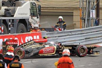World © Octane Photographic Ltd. F1 Monaco GP, Monte Carlo - Saturday 25th May - Practice 3. Lotus F1 Team E21 - Romain Grosjean puts his car into the wall at St.Devote. Digital Ref : 0707cb7d2475