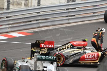 World © Octane Photographic Ltd. F1 Monaco GP, Monte Carlo - Saturday 25th May - Practice 3. Lotus F1 Team E21 - Romain Grosjean puts his car into the wall at St.Devote and blocks the pit exit. Digital Ref : 0707cb7d2480