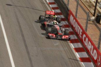World © Octane Photographic Ltd. F1 Monaco GP, Monte Carlo - Saturday 25th May - Practice 3. Vodafone McLaren Mercedes MP4/28 - Sergio Perez. Digital Ref : 0707lw7d8463