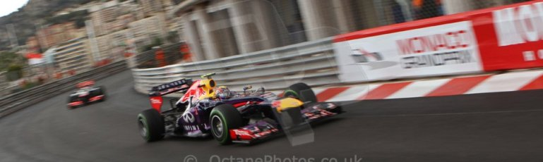 World © Octane Photographic Ltd. F1 Monaco GP, Monte Carlo - Saturday 25th May - Qualifying. Infiniti Red Bull Racing RB9 - Mark Webber and Vodafone McLaren Mercedes MP4/28 - Sergio Perez. Digital Ref : 0708lw7d8656