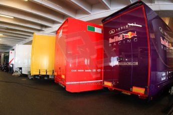 World © Octane Photographic Ltd. Formula 1 Monte Carlo - Monaco. Practice 1. The F1 transporters parked up in a car park for a change - these from Infiniti Red Bull Racing and Scuderia Ferrari. . Digital Ref :