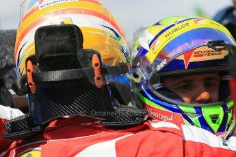 World © 2013 Octane Photographic Ltd. F1 Spanish GP, Circuit de Catalunya - Sunday 12th May 2013 - Race. Scuderia Ferrari F138 - Fernando Alonso hugs team mate Felipe Massa. Digital Ref : 0674cb1d2834