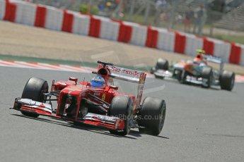 World © Octane Photographic Ltd. F1 Spanish GP, Circuit de Catalunya, Friday 10th May 2013. Practice 2. Scuderia Ferrari - Fernando Alonso and Sahara Force India - Adrian Sutil. Digital Ref : 0661cb1d9520