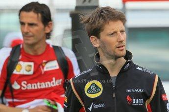 World © Octane Photographic Ltd. F1 Spanish GP - Saturday Paddock - 11th May 2013. Romain Grosjean - Lotus and Pedro de la Rosa - Scuderia Ferarri. Digital Ref : 0668cb1d0265
