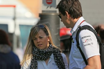 World © 2013 Octane Photographic Ltd. F1 Spanish GP, Circuit de Catalunya - Sunday 12th May 2013 - Paddock. Mercedes Susie Wolff and Toto Wolff. Digital Ref : 0675cb1d1843