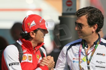 World © 2013 Octane Photographic Ltd. F1 Spanish GP, Circuit de Catalunya - Sunday 12th May 2013 - Paddock. Ferrari - Pedro de la Rosa and Alejandro Agag - Barwa Addax GP2 Team. Digital Ref : 0675cb1d2018