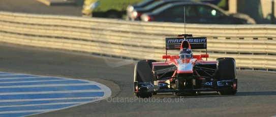 World © Octane Photographic Ltd. Formula 1 Winter testing, Jerez, 7th February 2013. Marussia MR02, Max Chilton. Digital Ref: 0573lw1d8913