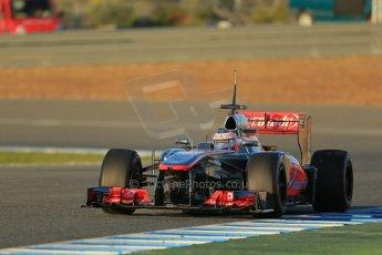 World © Octane Photographic Ltd. Formula 1 Winter testing, Jerez, 7th February 2013. Vodafone McLaren Mercedes MP4/28, Jenson Button. Digital Ref: 0573lw1d8934