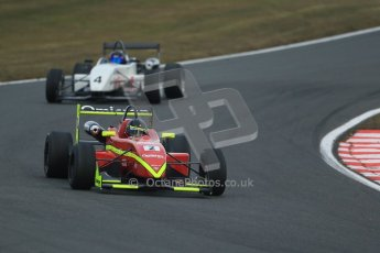 World © Octane Photographic Ltd. F3 Cup – Oulton Park, Monday 1st April 2013 – Race 2. Tristan Cliffe – Omicron Motorsport - Dallara F307 and Mark Harrison – Magic Motorsport - Dallara F302 Toyota. Digital Ref : 0626lw1d0118