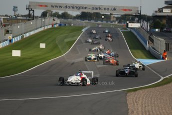 World © Octane Photographic Ltd. BRDC Formula 4 (F4) Race 1, Donington Park 28th September 2013. MSVF4-13, Lanan Racing, Jake Hughes leads the pack away on the green flag installation lap. Digital Ref : 0833lw1d9213