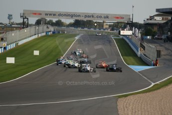 World © Octane Photographic Ltd. BRDC Formula 4 (F4) Race 1, Donington Park 28th September 2013. MSVF4-13, Lanan Racing, Jake Hughes leads the pack as the race starts. Digital Ref : 0833lw1d9218